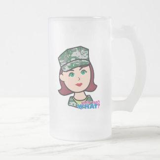 Cabeza militar pelirroja de Camo del chica Taza De Cristal