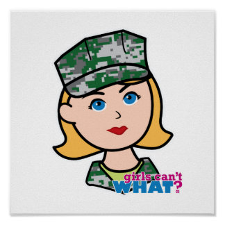 Cabeza militar rubia de Camo del chica Impresiones