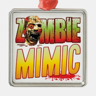 Cabeza mimética del zombi adorno cuadrado plateado