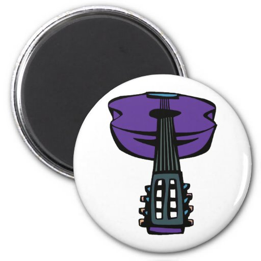 cabeza purple.png de la guitarra acústica imán redondo 5 cm