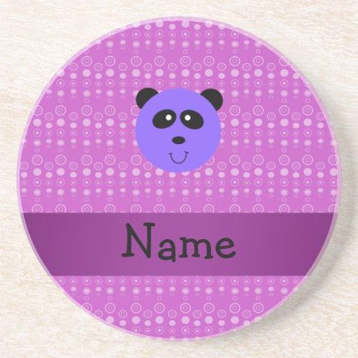 Cabeza púrpura conocida personalizada de la panda posavaso para bebida