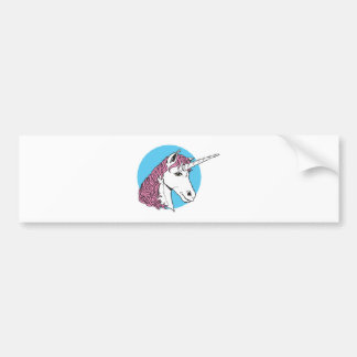 cabeza púrpura/rosada del unicornio de la melena pegatina de parachoque