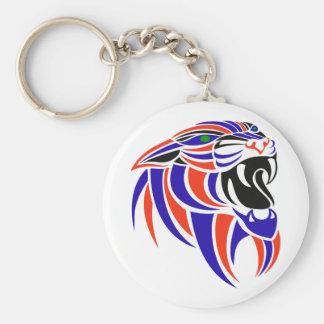 Cabeza púrpura y anaranjada de DK del tigre Llavero Redondo Tipo Pin