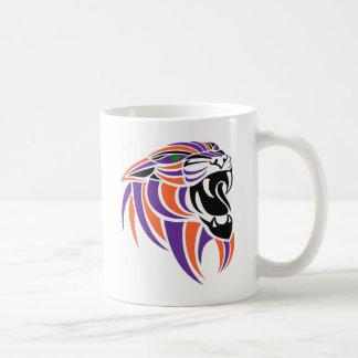 Cabeza púrpura y anaranjada del tigre taza de café