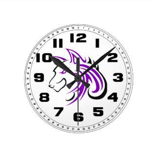 Cabeza púrpura y negra Outline.png del lobo Reloj Redondo Mediano