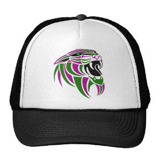 Cabeza púrpura y verde del tigre gorra