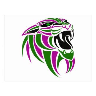 Cabeza púrpura y verde del tigre postal