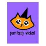 cabeza purrfectly traviesa del gatito tarjetas postales