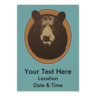 Cabeza rellena del oso de Brown en la pared Invitación 12,7 X 17,8 Cm