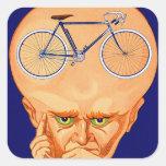 Cabeza retra de la bicicleta del kitsch del pegatina cuadrada