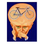 Cabeza retra de la bicicleta del kitsch del postal