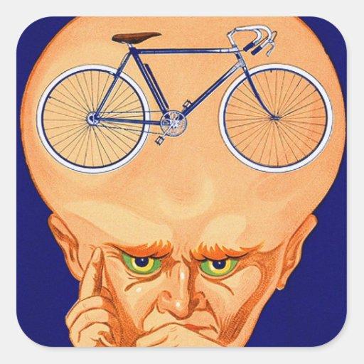 Cabeza retra de la bicicleta del kitsch del vintag pegatinas cuadradases personalizadas