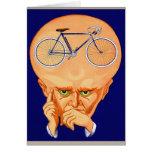 Cabeza retra de la bicicleta del kitsch del vintag tarjeta