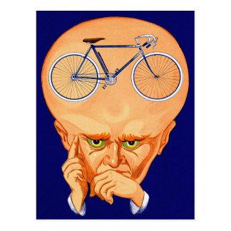 Cabeza retra de la bicicleta del kitsch del vintag postal