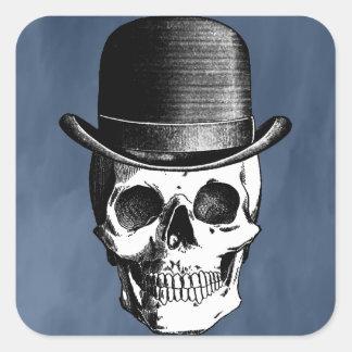Cabeza retra del cráneo pegatina cuadrada
