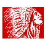 Cabeza retra del jefe indio del viaje del kitsch 4 tarjeta postal