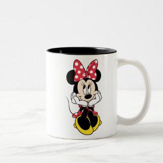 Cabeza roja de Minnie el | en manos Taza De Café De Dos Colores