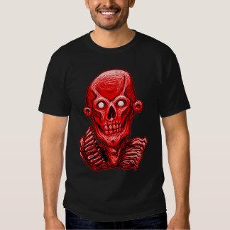 Cabeza roja del cráneo del zombi camisas
