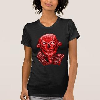 Cabeza roja del cráneo del zombi remeras