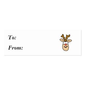 Cabeza roja divertida del reno de la nariz tarjetas de visita mini