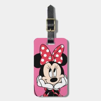 Cabeza roja y blanca de Minnie el   en manos Etiquetas Para Maletas