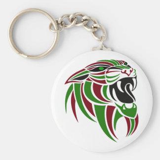 Cabeza roja y verde de DK del tigre Llavero Redondo Tipo Pin