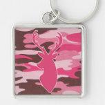 Cabeza rosada de los ciervos del camo llaveros