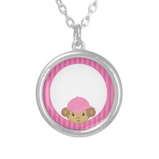 Cabeza rosada linda del mono en rayas rosadas collar personalizado