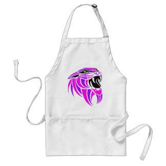 Cabeza rosada y púrpura del tigre delantal