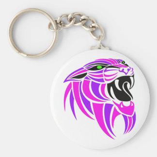 Cabeza rosada y púrpura del tigre llavero redondo tipo pin