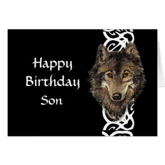 Cabeza salvaje del lobo gris del hijo del feliz cu felicitacion