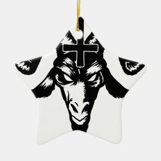 Cabeza satánica de la cabra con la cruz (negro) ornatos