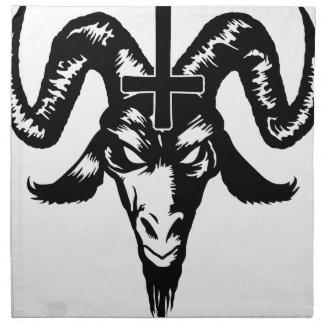Cabeza satánica de la cabra con la cruz (negro) servilleta de papel
