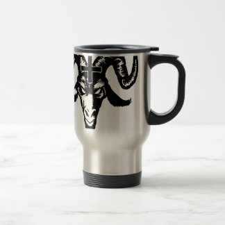 Cabeza satánica de la cabra con la cruz (negro) taza térmica