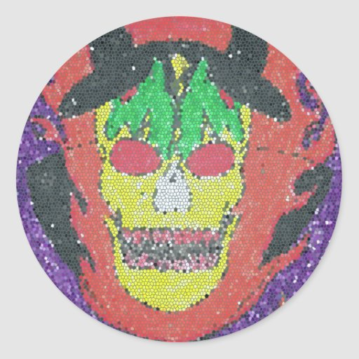 cabeza satánica pegatina redonda