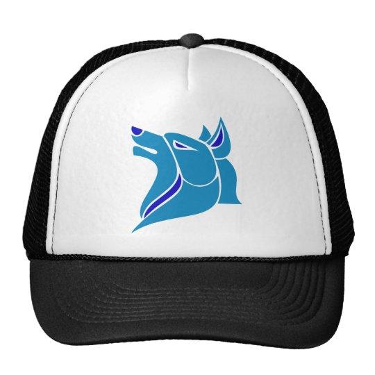 Cabeza sólida azul y azul clara del lobo gorras de camionero