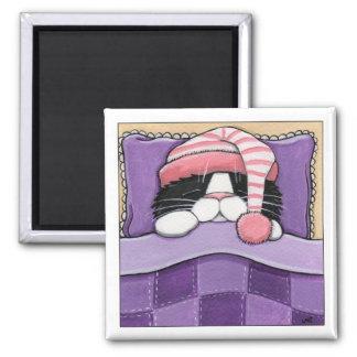 Cabeza soñolienta - imán del gato