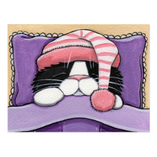 Cabeza soñolienta - postal del gato