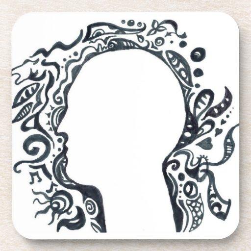 Cabeza tribal de la silueta del diseño posavaso