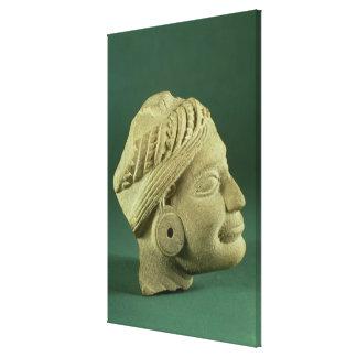 Cabeza turbaned pulimentada de la piedra arenisca, impresión en lona
