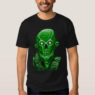 Cabeza verde del cráneo del zombi playera