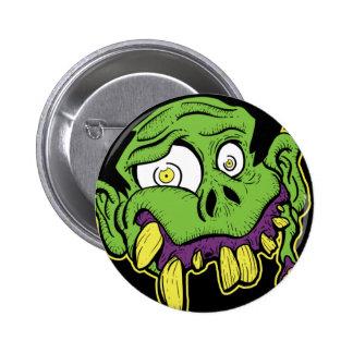 Cabeza verde del zombi pin