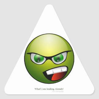 Cabeza verde pegatina triangular
