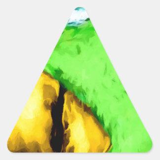 Cabeza verde print.jpg del pájaro pegatina triangular