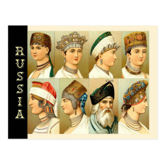 Cabeza-vestidos rusos postales