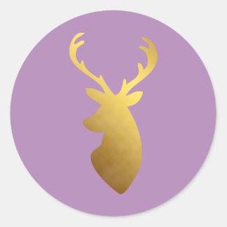 Cabeza violeta y falsa elegante de los ciervos de pegatina redonda