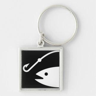 Cabeza y gancho de los pescados - blancos y negros llavero cuadrado plateado