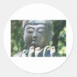 Cabeza y paz ASL de Buda Pegatina Redonda