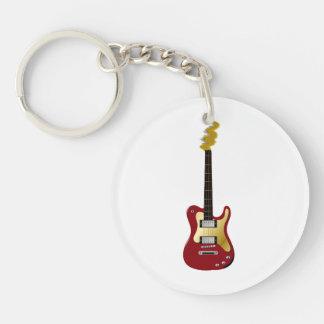 Cabezal rojo del fizzle del amarillo de la guitarr llavero redondo acrílico a doble cara