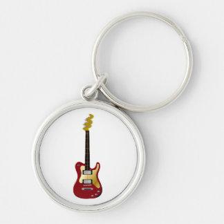 Cabezal rojo del fizzle del amarillo de la guitarr llavero redondo plateado